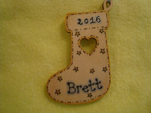 Personalised Wooden Stocking Shaped Christmas Tree Hanger with star Decoration detailing
